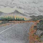 Ben Lettery,Connemara,oil pastels