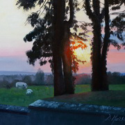 1869 Spring Sunset, oil on panel