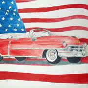 52 Cadillac with Am. Flag