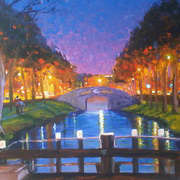 Grand Canal Dublin at evening time