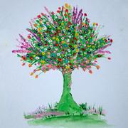 Abundance of Life (Garden Tree),Acrylics
