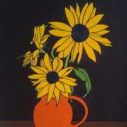Sunflowers in Orange Jug