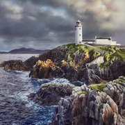 Fanad Lighthouse, Donegal, Watercolour on board