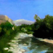 L'Ouveze river looking to mt Ventoux