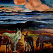 Irish Art, Donkeys Mourne Mountains,
