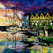 Dusk At The docks, needle felting