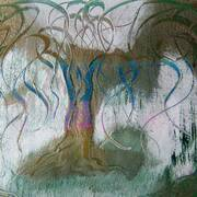 walking out of the forest, mostly hammerite paint, calligraphy ink