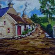A Gentle Stroll up Kilton Lane,Islandmagee,painted from a vintage photograph by the late Arthur Harrison,with consent from his nephew Mike Harrison