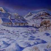 Blackrock Cottage,Glencoe,Scottish Highlands in Snow,(painted withkind permission from a photo by Barbara Jones,PhotosEcosse)