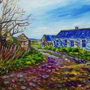 Deserted Clachan dwellings near Dunseverick on the Antrim Coast.