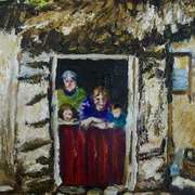 Family at a cottage half door,Glens of Antrim,(detail from a vintage postcard by W.A Green,NMNI)