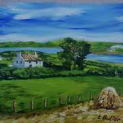 Farm near Larne Lough,Islandmagee,painted from a vintage photograph by the late Arthur Harrison,with consent from his grandson,Mike Harrison