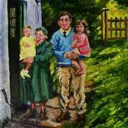 I was Carried Down a Babe in Arms Grandma Uncle Alex Barbara and Me Cottages at Ballymoney Islandmagee County Antrim