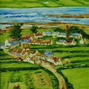 Old Glynn from the Brae,painted from an 1880 photograph by Robert French,courtesy of the National Library of Ireland,original painting for Larne Lamppost Banner project