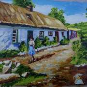 Thatched Cottages on a Lane islandmagee,painted from a vintage photograph by the late Arthur Harrison,with consent from his grandson,Mike Harrison