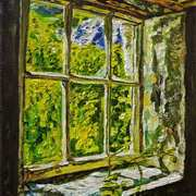 View on the Past Derelict Cottage Window Galboly Glens of Antrim
