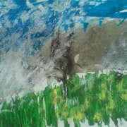 blossom blowing, oilbar, gouache