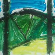 view through trees (sketch),oilbar