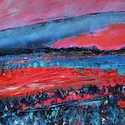 Landscape In Red And Blue
