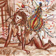 A Tribute To 80s, (AIDS and pregnant woman), Dry and oil pastel, chinese paint