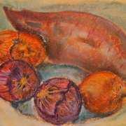 Onions and Sweet Potato still life,2016