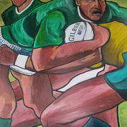 the tackle. acrylic on board. 122 x 165 cms