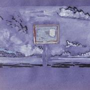 Panel In A Blue,Purple Landscape