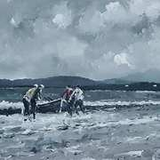 Downings Currach Men Escaping The Storm